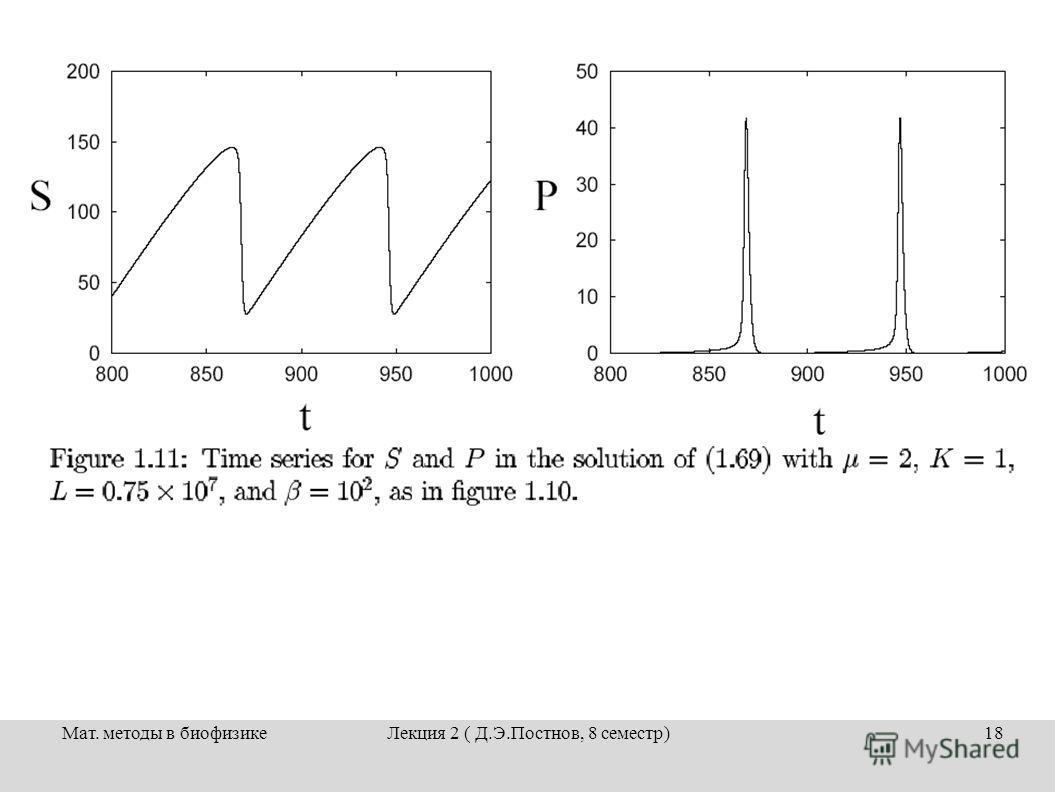 Мат. методы в биофизикеЛекция 2 ( Д.Э.Постнов, 8 семестр)18