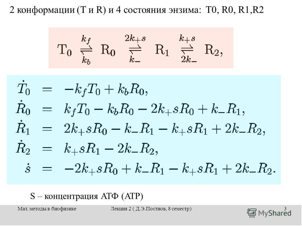 Мат. методы в биофизикеЛекция 2 ( Д.Э.Постнов, 8 семестр)3 2 конформации (T и R) и 4 состояния энзима: T0, R0, R1,R2 S – концентрация АТФ (ATP)