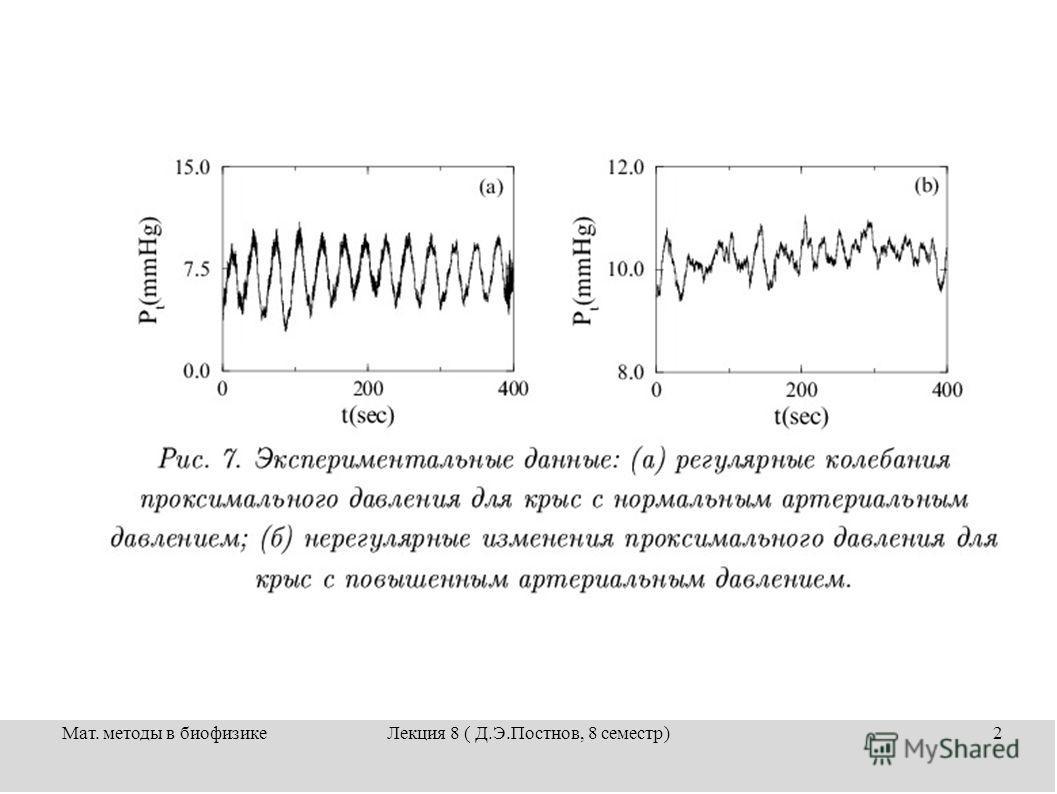 Мат. методы в биофизикеЛекция 8 ( Д.Э.Постнов, 8 семестр)2