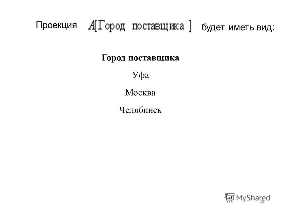 Проекция будет иметь вид: Город поставщика Уфа Москва Челябинск 29