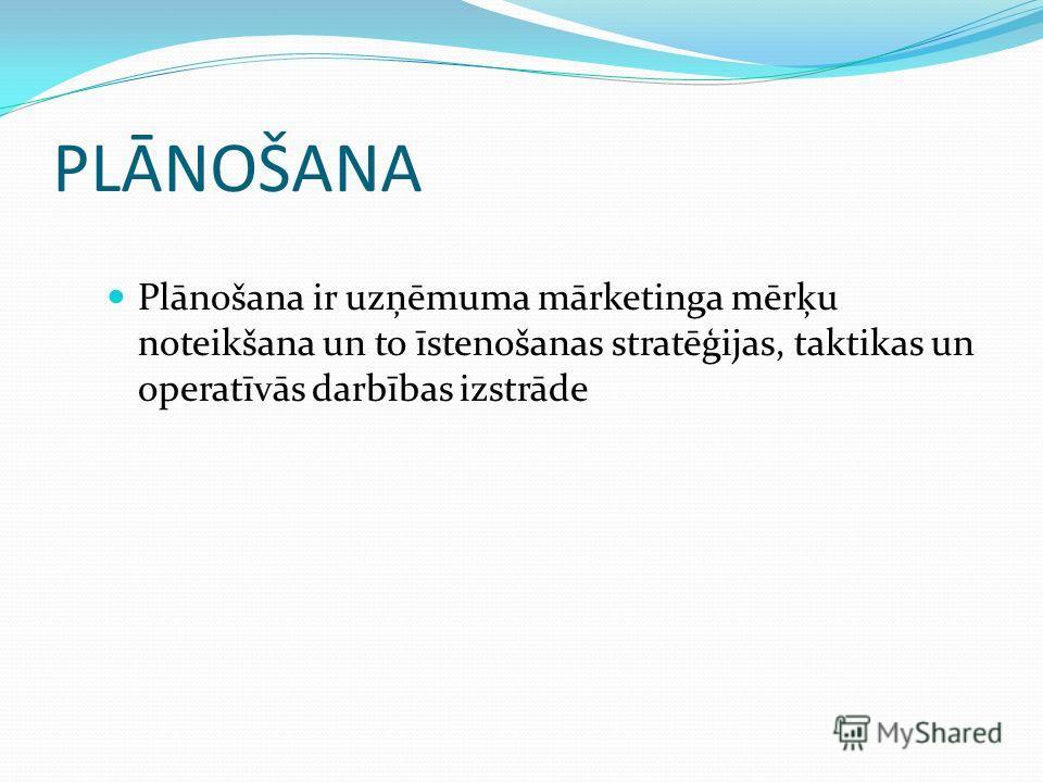 PLĀNOŠANA Plānošana ir uzņēmuma mārketinga mērķu noteikšana un to īstenošanas stratēģijas, taktikas un operatīvās darbības izstrāde