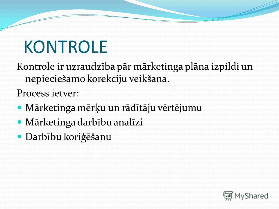 KONTROLE Kontrole ir uzraudzība pār mārketinga plāna izpildi un nepieciešamo korekciju veikšana. Process ietver: Mārketinga mērķu un rādītāju vērtējumu Mārketinga darbību analīzi Darbību koriģēšanu