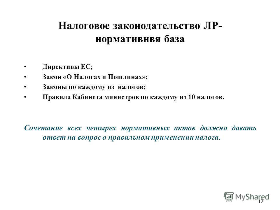 Налоговое законодательство ЛР- нормативнвя база Директивы ЕС; Закон «О Налогах и Пошлинах»; Законы по каждому из налогов; Правила Кабинета министров по каждому из 10 налогов. Сочетание всех четырех нормативных актов должно давать ответ на вопрос о пр