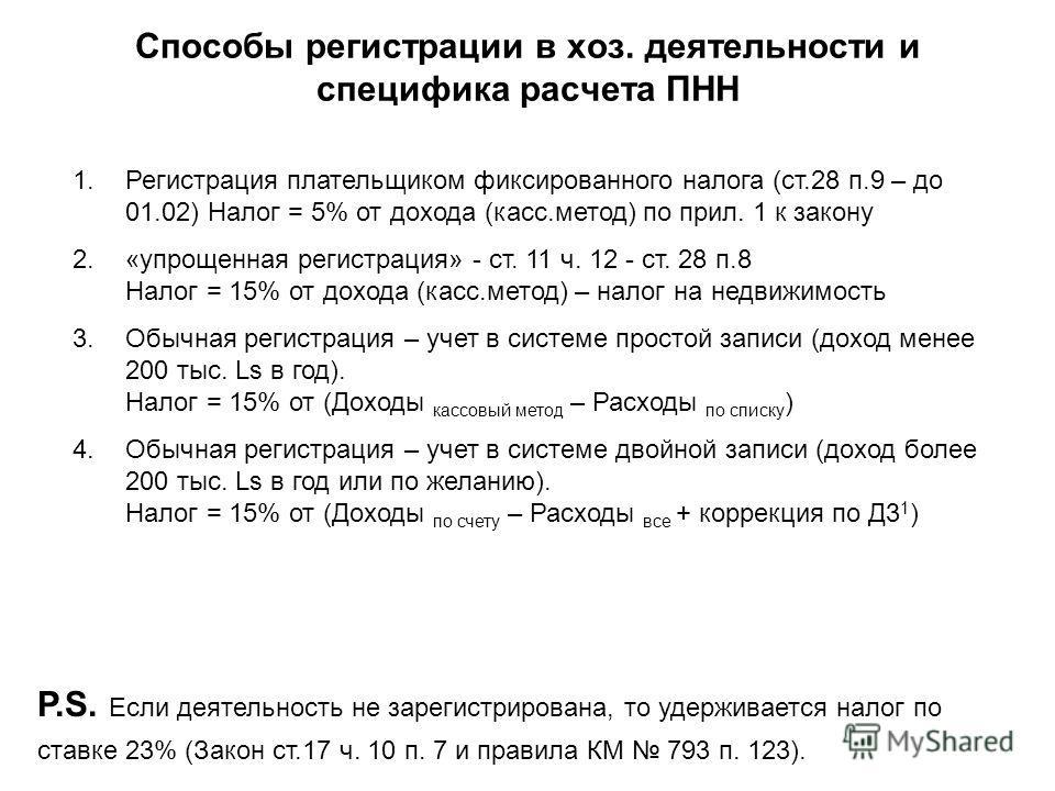 Способы регистрации в хоз. деятельности и специфика расчета ПНН 1.Регистрация плательщиком фиксированного налога (ст.28 п.9 – до 01.02) Налог = 5% от дохода (касс.метод) по прил. 1 к закону 2.«упрощенная регистрация» - ст. 11 ч. 12 - ст. 28 п.8 Налог