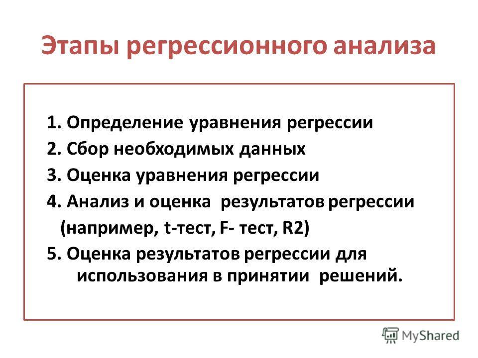 Этапы регрессионного анализа 1. Определение уравнения регрессии 2. Сбор необходимых данных 3. Оценка уравнения регрессии 4. Анализ и оценка результатов регрессии (например, t-тест, F- тест, R2) 5. Оценка результатов регрессии для использования в прин