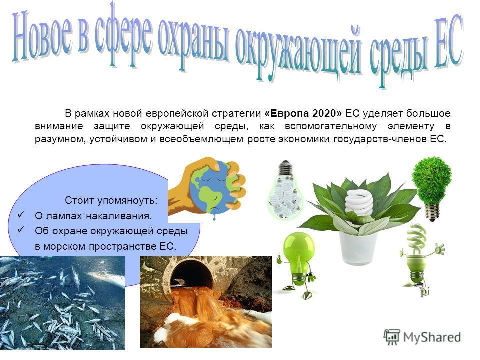 В рамках новой европейской стратегии «Европа 2020» ЕС уделяет большое внимание защите окружающей среды, как вспомогательному элементу в разумном, устойчивом и всеобъемлющем росте экономики государств-членов ЕС. Стоит упомяноуть: О лампах накаливания.