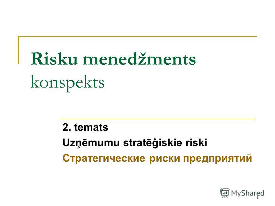 1 Risku menedžments konspekts 2. temats Uzņēmumu stratēģiskie riski Стратегические риски предприятий