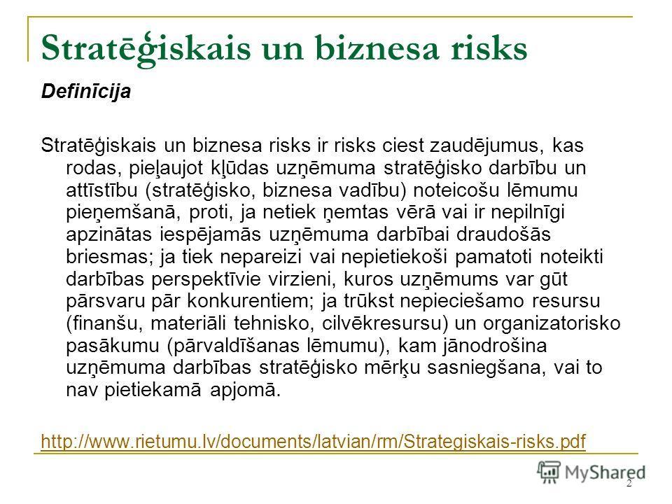 2 Stratēģiskais un biznesa risks Definīcija Stratēģiskais un biznesa risks ir risks ciest zaudējumus, kas rodas, pieļaujot kļūdas uzņēmuma stratēģisko darbību un attīstību (stratēģisko, biznesa vadību) noteicošu lēmumu pieņemšanā, proti, ja netiek ņe
