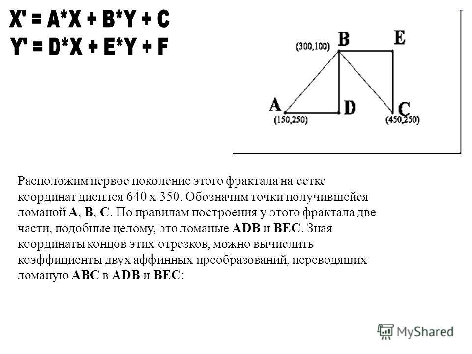 Расположим первое поколение этого фрактала на сетке координат дисплея 640 x 350. Обозначим точки получившейся ломаной A, B, C. По правилам построения у этого фрактала две части, подобные целому, это ломаные ADB и BEC. Зная координаты концов этих отре