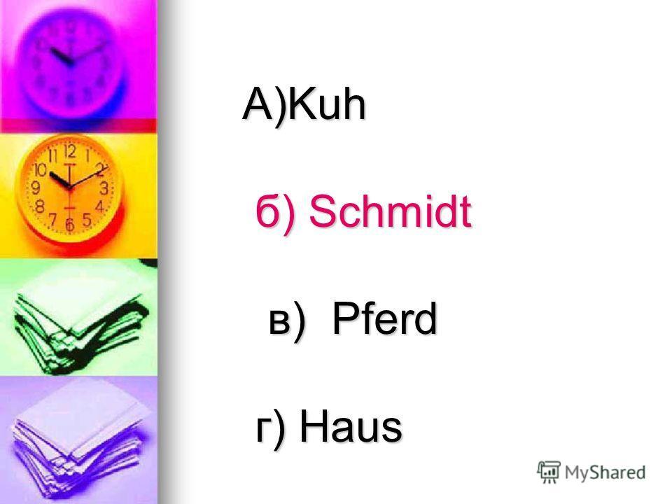 А)Kuh б) Schmidt б) Schmidt в) Pferd в) Pferd г) Haus г) Haus