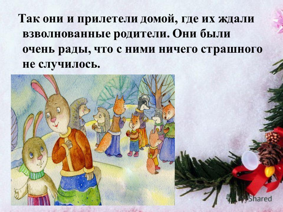 А когда все отогрелись и повеселели, Дедушка Мороз усадил всех в сани, прихватил мешок с подарками и запряг белую лошадку. Упряжка у Деда мороза волшебная. Сани со зверятами летели прямо по воздуху, а внизу простиралась сказочная тайга. Друзьям было