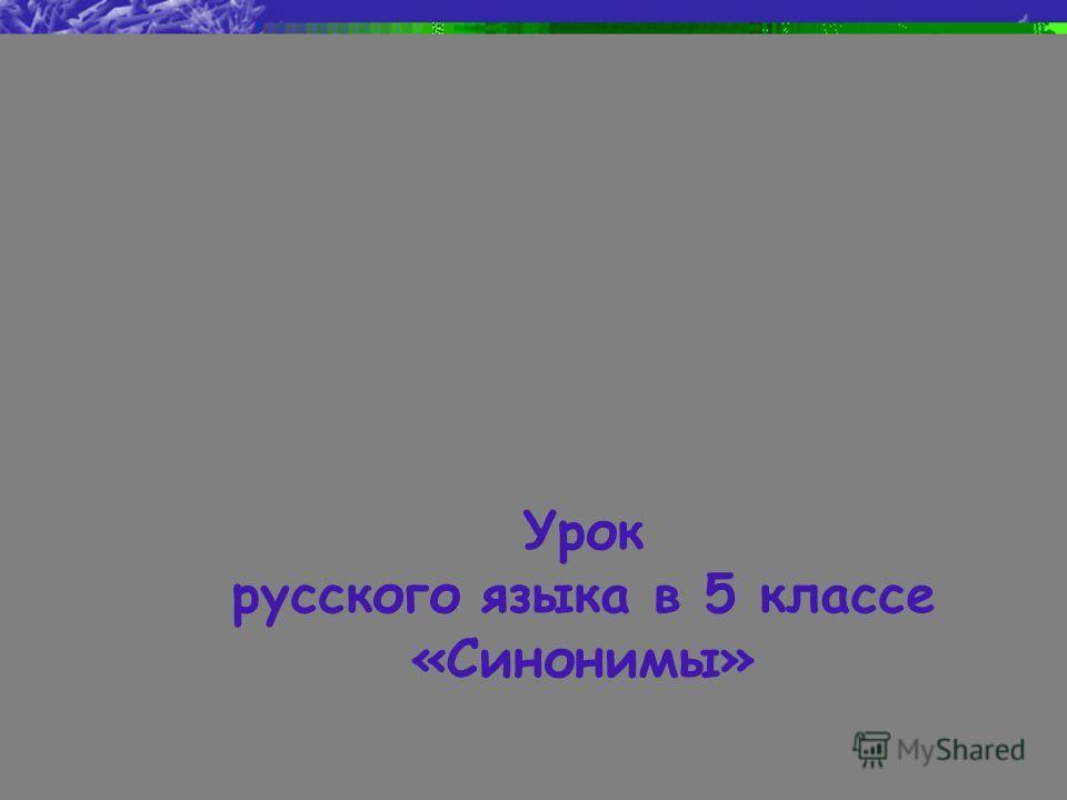 Урок русского языка в 5 классе «Синонимы»
