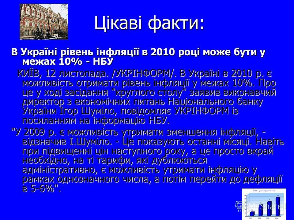 Цікаві факти: В Україні рівень інфляції в 2010 році може бути у межах 10% - НБУ КИЇВ, 12 листопада. /УКРІНФОРМ/. В Україні в 2010 р. є можливість отримати рівень інфляції у межах 10%. Про це у ході засідання