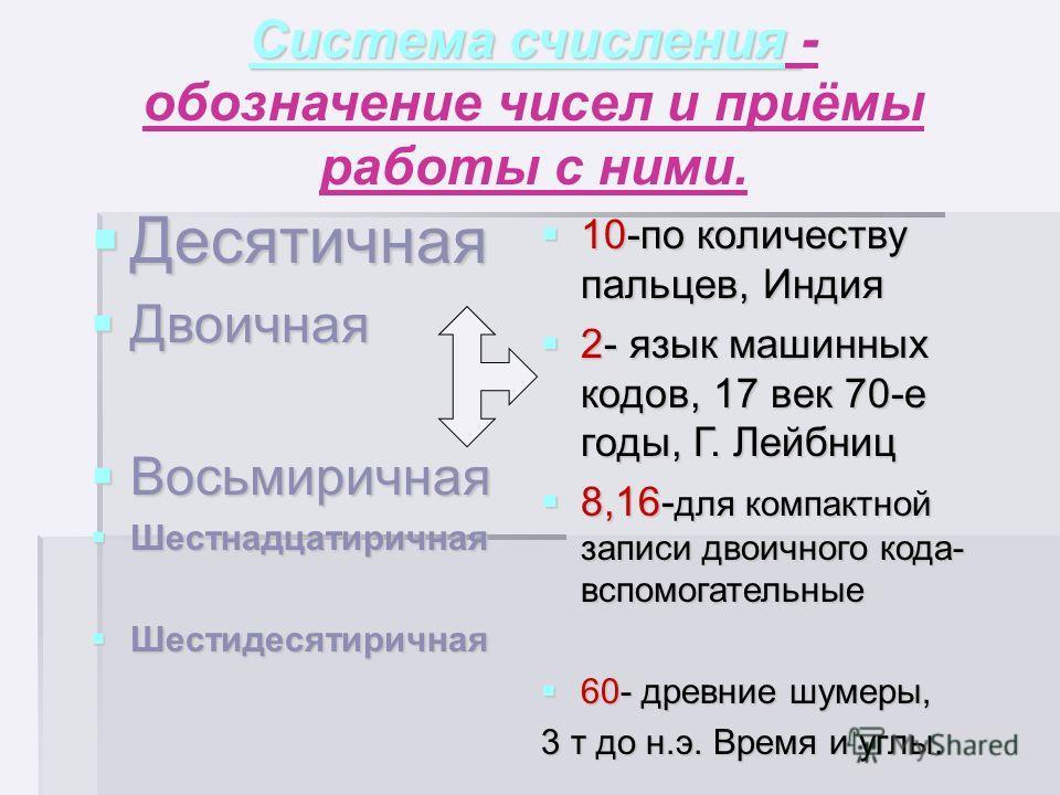 Алфавит системы - Алфавит системы - цифры, которые используются для записи числа. Основание системы счисления (СС)- Основание системы счисления (СС)- количество знаков в алфавите. По значению основания называется и сама СС. По значению основания назы