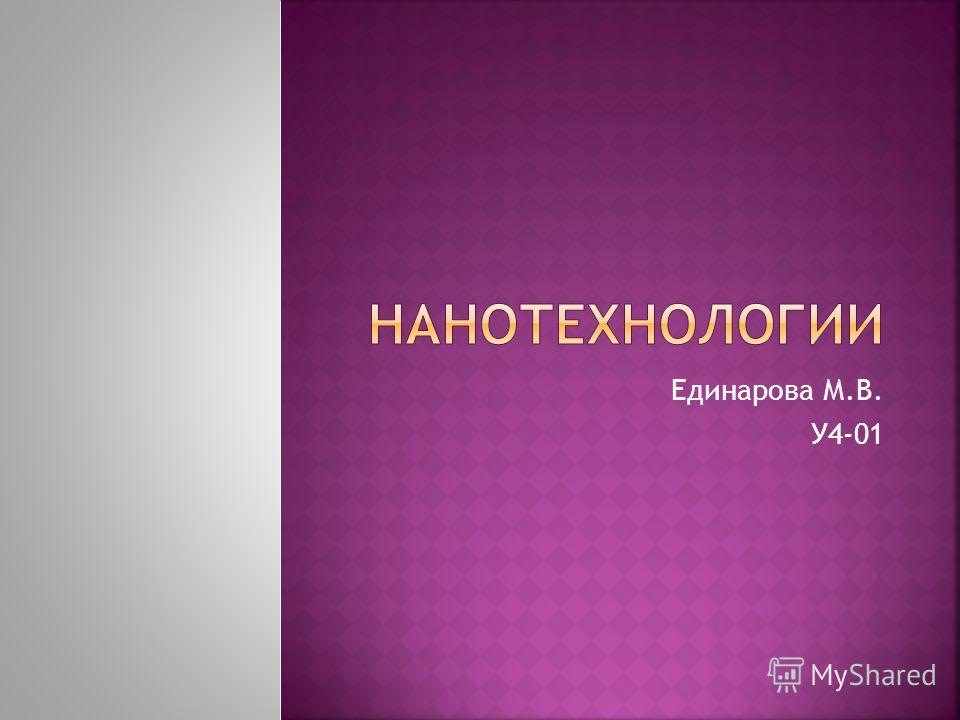 Единарова М.В. У4-01