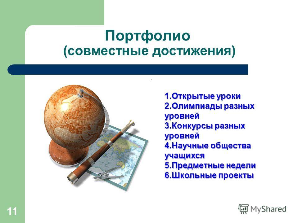 Портфолио (совместные достижения) 11 1.Открытые уроки 2.Олимпиады разных уровней 3.Конкурсы разных уровней 4.Научные общества учащихся 5.Предметные недели 6.Школьные проекты
