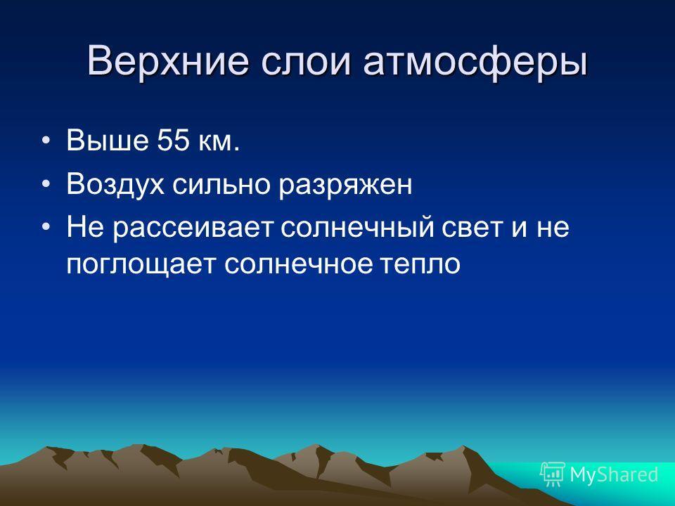 Верхние слои атмосферы Выше 55 км. Воздух сильно разряжен Не рассеивает солнечный свет и не поглощает солнечное тепло