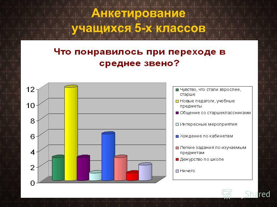 Анкетирование учащихся 5-х классов