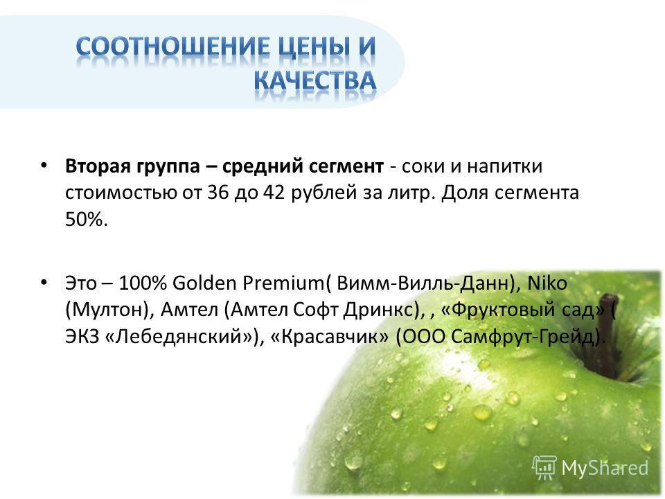 Вторая группа – средний сегмент - соки и напитки стоимостью от 36 до 42 рублей за литр. Доля сегмента 50%. Это – 100% Golden Premium( Вимм-Вилль-Данн), Niko (Мултон), Амтел (Амтел Софт Дринкс),, «Фруктовый сад» ( ЭКЗ «Лебедянский»), «Красавчик» (ООО