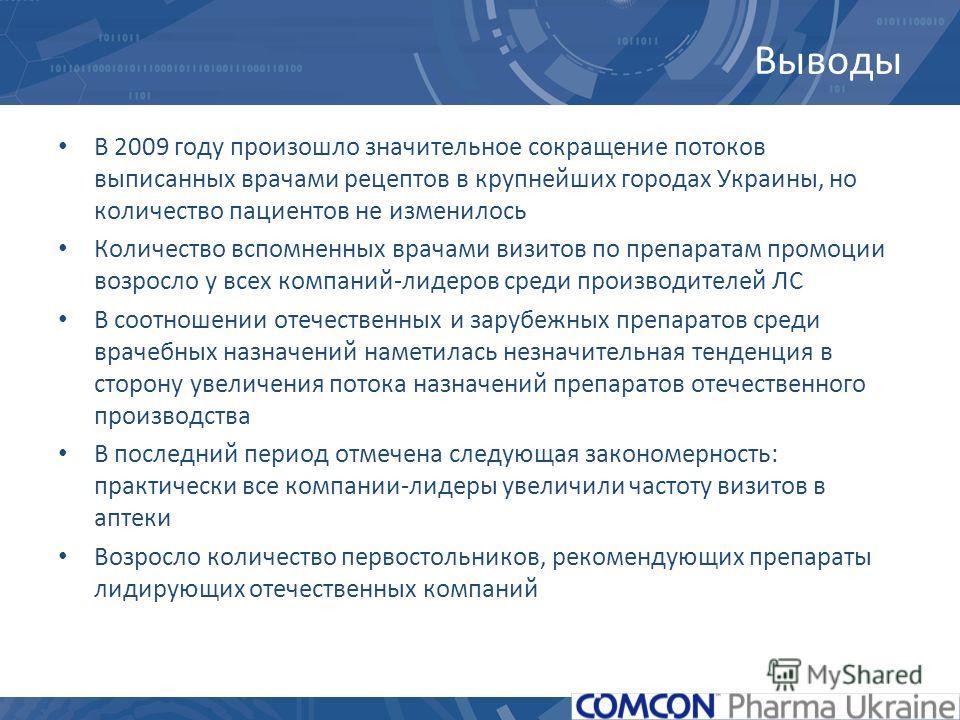 Выводы В 2009 году произошло значительное сокращение потоков выписанных врачами рецептов в крупнейших городах Украины, но количество пациентов не изменилось Количество вспомненных врачами визитов по препаратам промоции возросло у всех компаний-лидеро