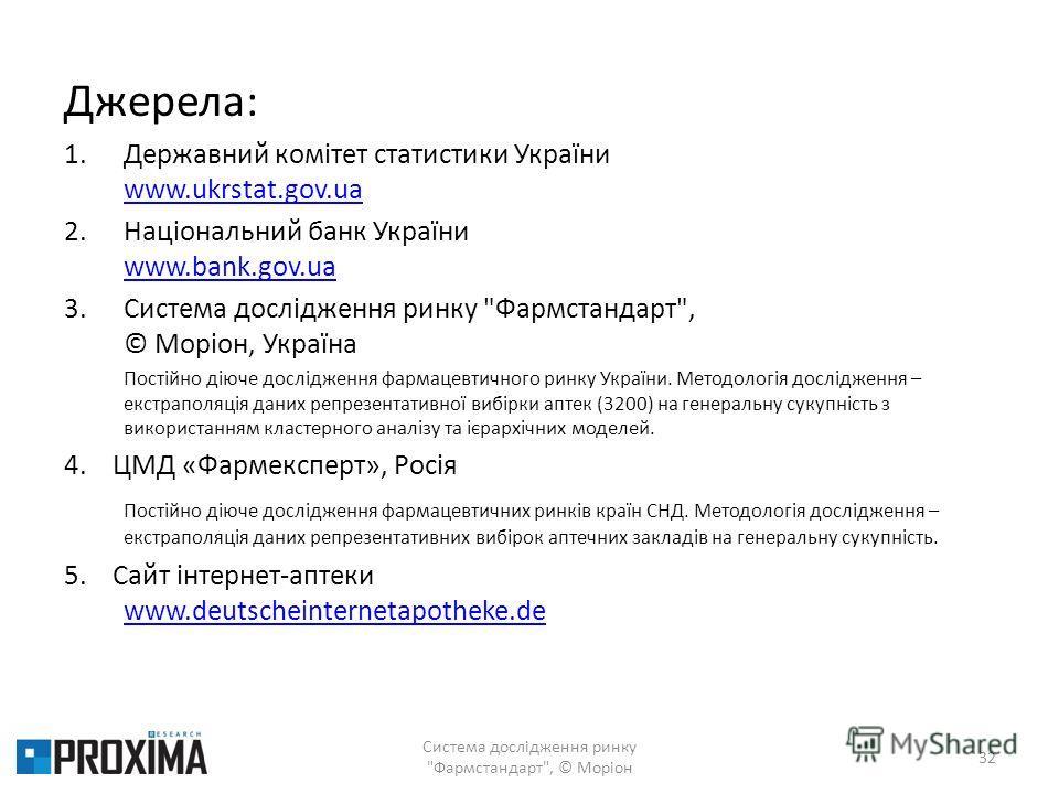 Джерела: 1.Державний комітет статистики України www.ukrstat.gov.ua www.ukrstat.gov.ua 2.Національний банк України www.bank.gov.ua www.bank.gov.ua 3.Система дослідження ринку