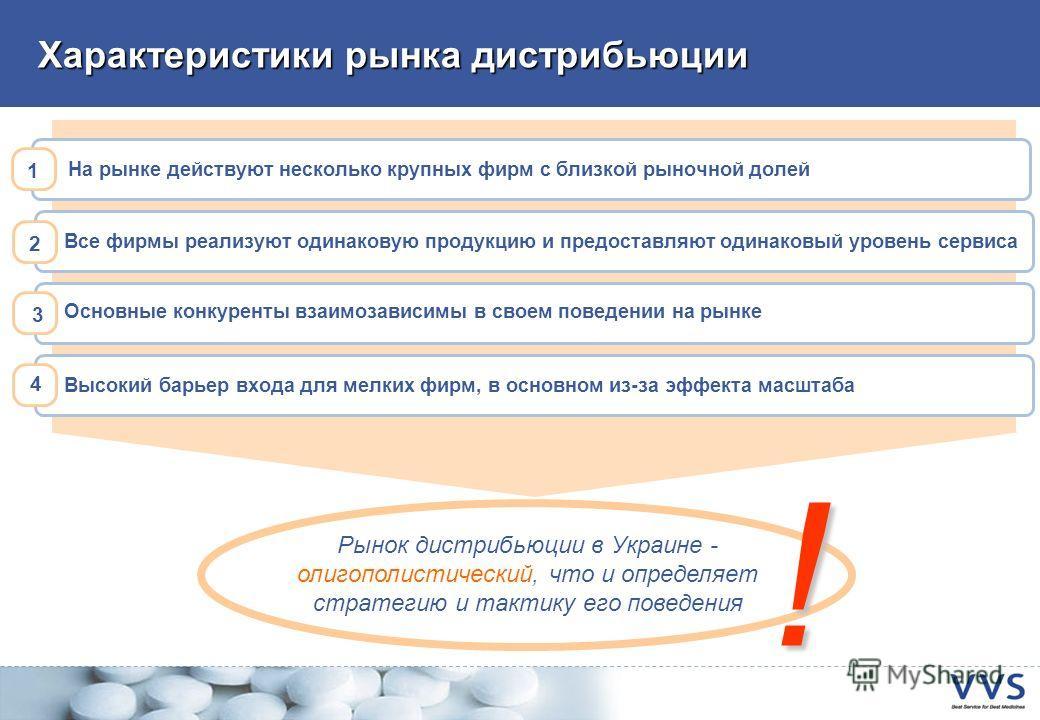 Характеристики рынка дистрибьюции Рынок дистрибьюции в Украине - олигополистический, что и определяет стратегию и тактику его поведения ! На рынке действуют несколько крупных фирм с близкой рыночной долей 1 Все фирмы реализуют одинаковую продукцию и
