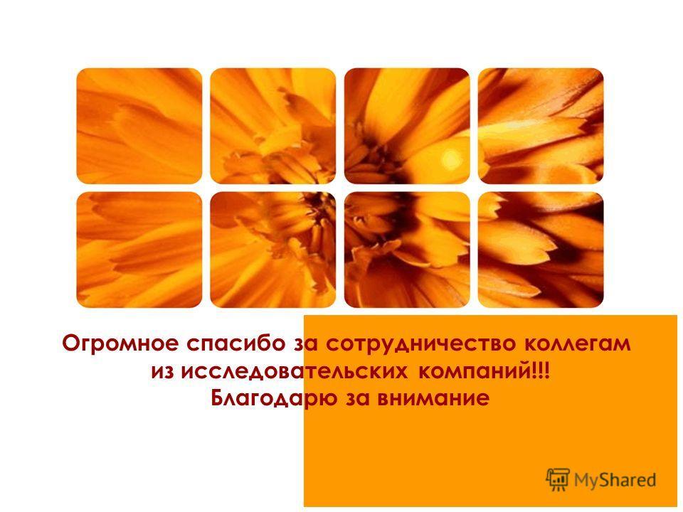 Огромное спасибо за сотрудничество коллегам из исследовательских компаний!!! Благодарю за внимание