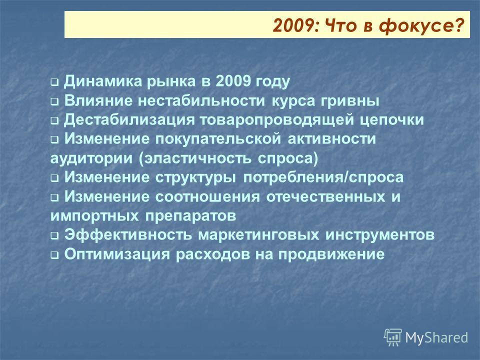 Динамика рынка в 2009 году Влияние нестабильности курса гривны Дестабилизация товаропроводящей цепочки Изменение покупательской активности аудитории (эластичность спроса) Изменение структуры потребления/спроса Изменение соотношения отечественных и им