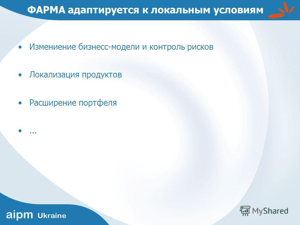aipm Ukraine ФАРМА адаптируется к локальным условиям Измениение бизнесс-модели и контроль рисков Локализация продуктов Расширение портфеля...