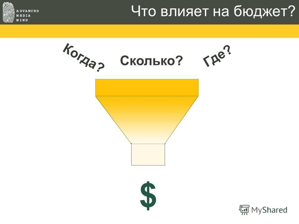Что влияет на бюджет? Когда? Где? Сколько? $