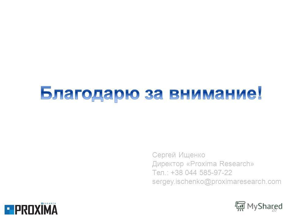 20 Сергей Ищенко Директор «Proxima Research» Тел.: +38 044 585-97-22 sergey.ischenko@proximaresearch.com