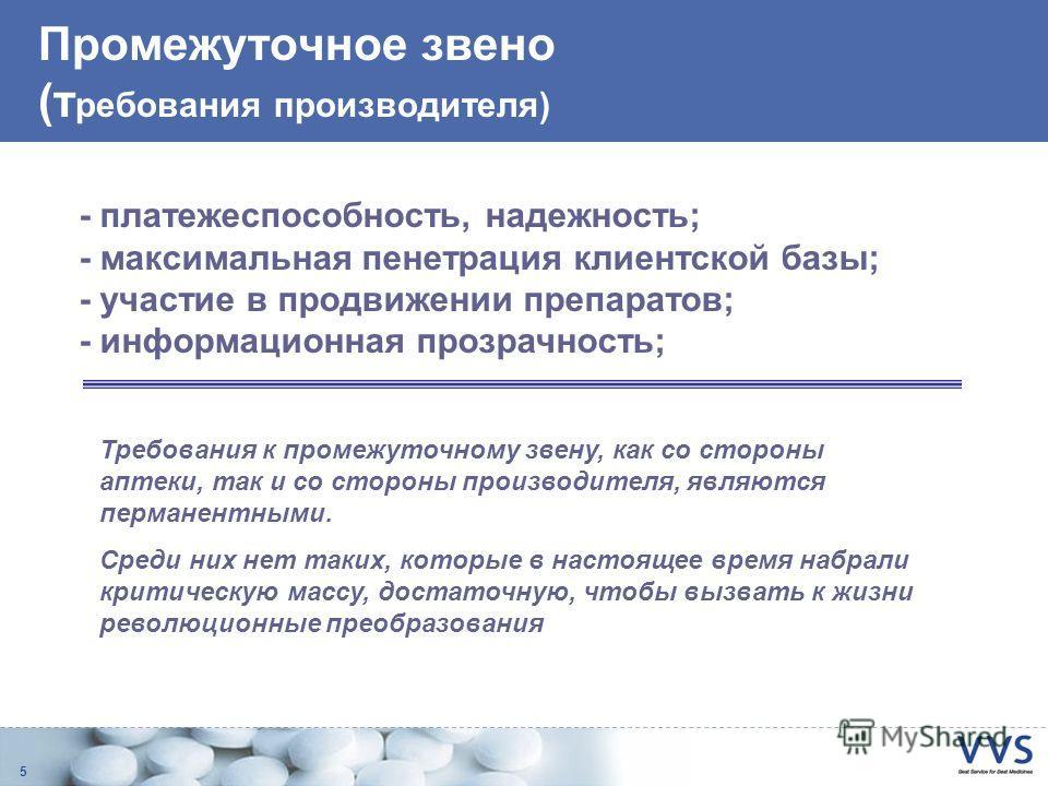 5 Промежуточное звено (т ребования производителя) - платежеспособность, надежность; - максимальная пенетрация клиентской базы; - участие в продвижении препаратов; - информационная прозрачность; Требования к промежуточному звену, как со стороны аптеки
