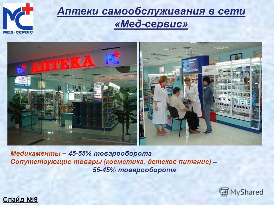 Аптеки самообслуживания в сети «Мед-сервис» Медикаменты – 45-55% товарооборота Сопутствующие товары (косметика, детское питание) – 55-45% товарооборота Слайд 9