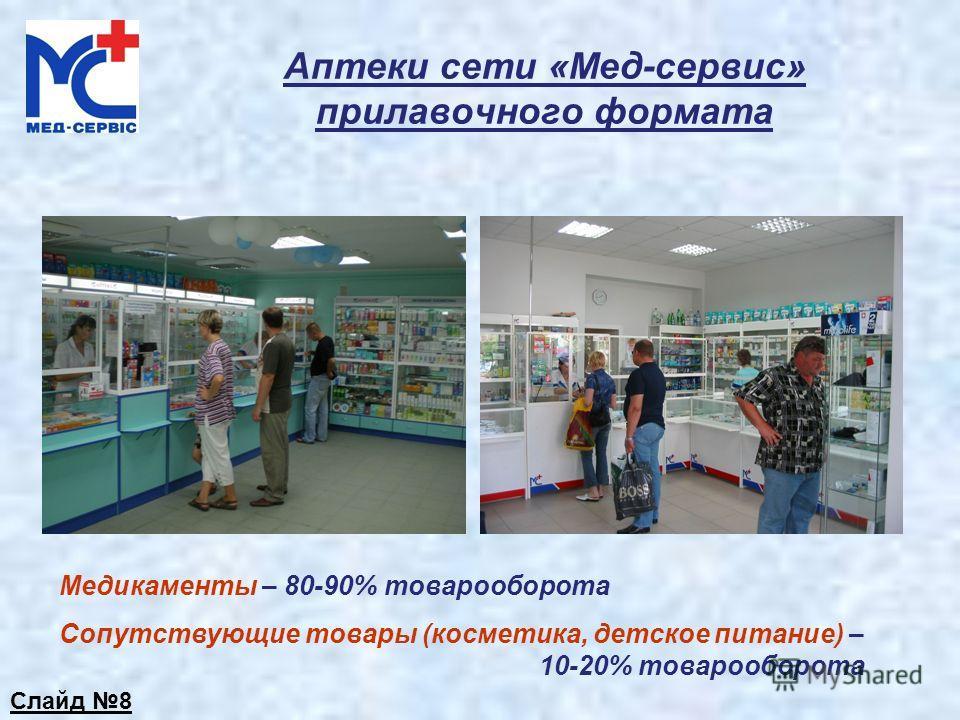 Аптеки сети «Мед-сервис» прилавочного формата Медикаменты – 80-90% товарооборота Сопутствующие товары (косметика, детское питание) – 10-20% товарооборота Слайд 8