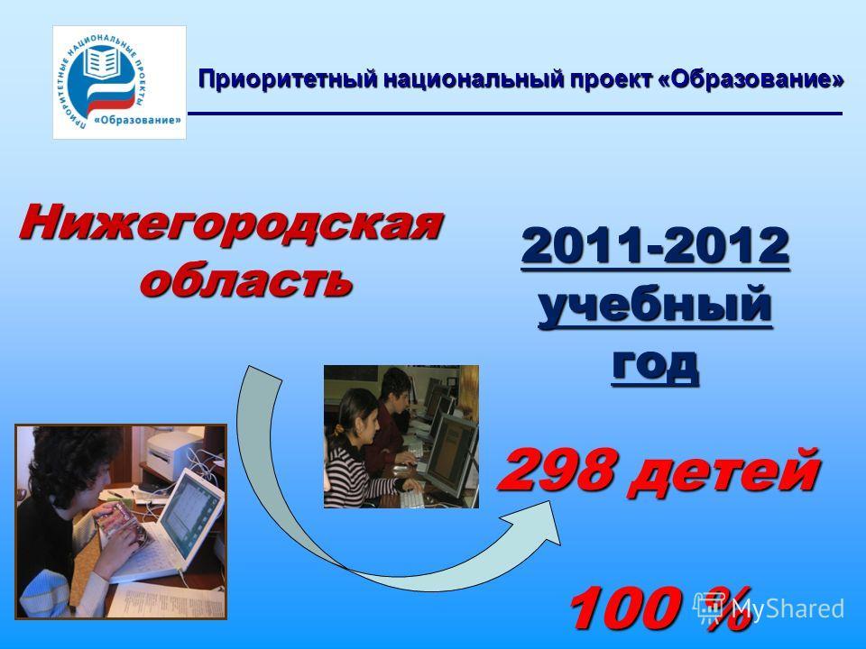 Нижегородская область Приоритетный национальный проект «Образование» 2011-2012 учебный год 298 детей 100 % 100 %