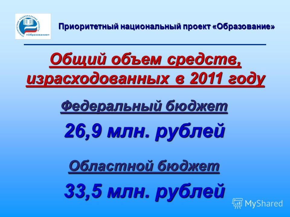 Федеральный бюджет 26,9 млн. рублей Областной бюджет 33,5 млн. рублей Общий объем средств, израсходованных в 2011 году Приоритетный национальный проект «Образование»
