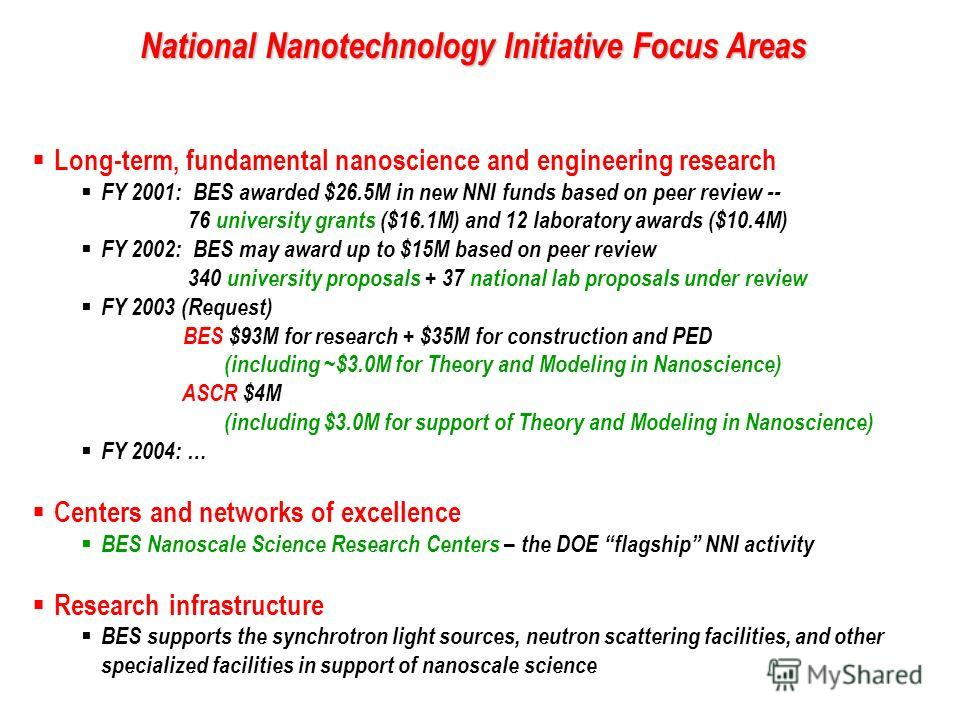 National Nanotechnology Initiative Focus Areas Long-term, fundamental nanoscience and engineering research FY 2001: BES awarded $26.5M in new NNI funds based on peer review -- 76 university grants ($16.1M) and 12 laboratory awards ($10.4M) FY 2002: B