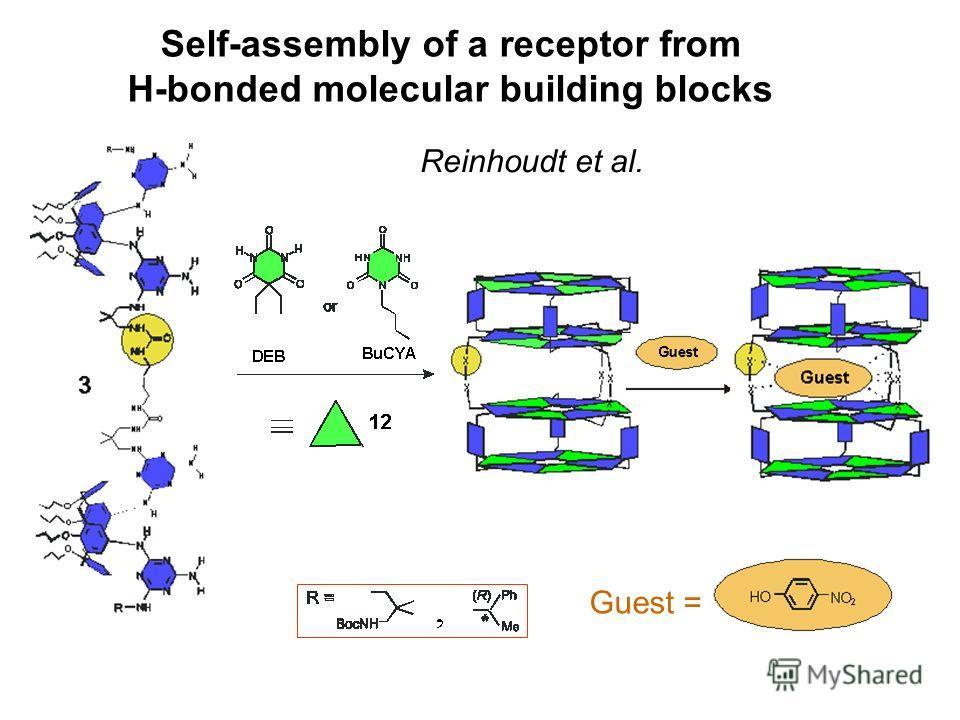 Self-assembly of a receptor from H-bonded molecular building blocks Reinhoudt et al. Guest =