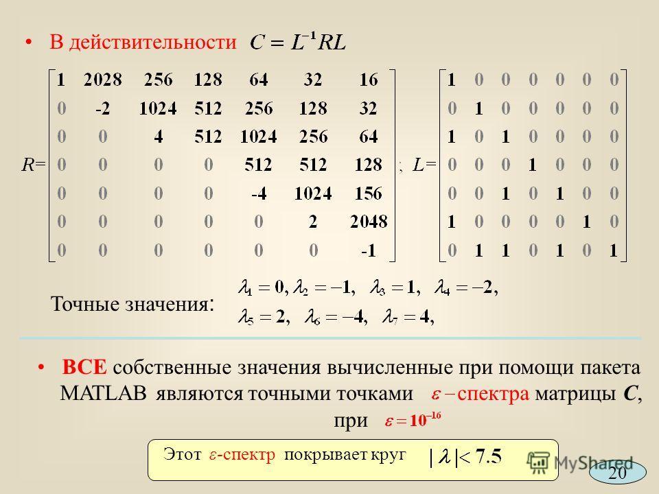 В действительности Точные значения : ВСЕ собственные значения вычисленные при помощи пакета MATLAB являются точными точками спектра матрицы С, при Этот ε-спектр покрывает круг 20