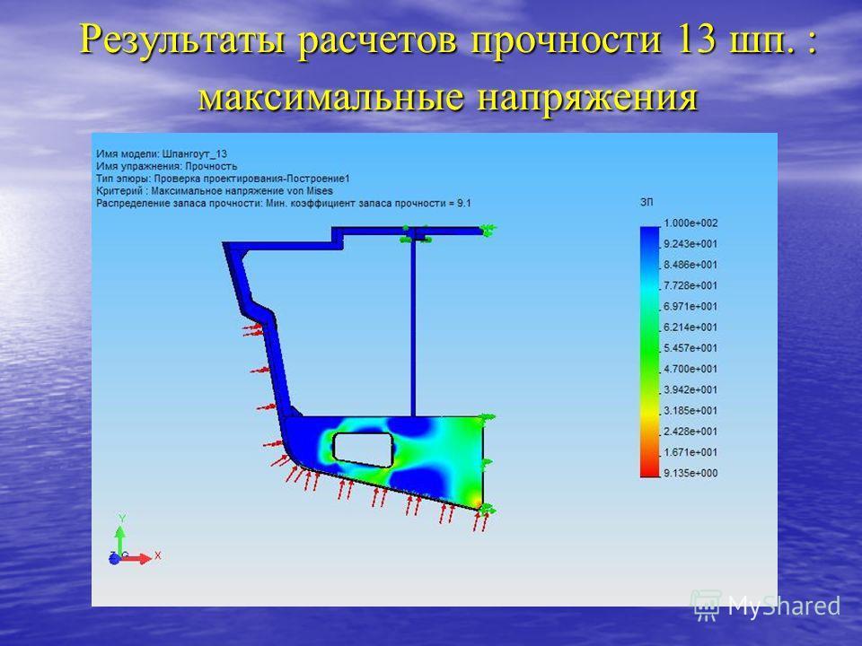 Результаты расчетов прочности 13 шп. : максимальные напряжения