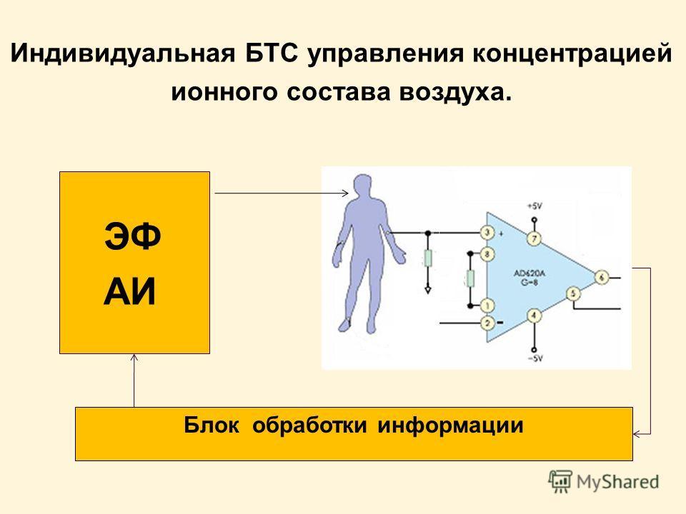 Индивидуальная БТС управления концентрацией ионного состава воздуха. ЭФ АИ Блок обработки информации