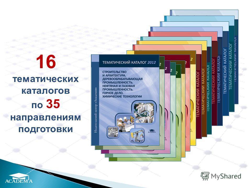 16 тематических каталогов по 35 направлениям подготовки