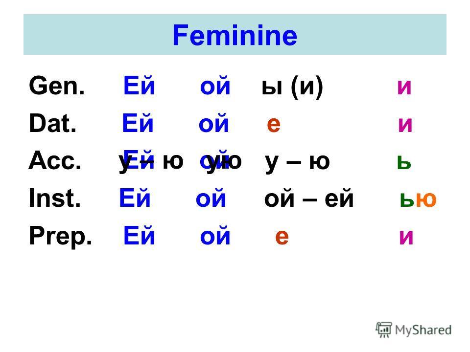 Feminine Gen. Ей ой ы (и) и Dat. Ей ой е и Acc. у – ю ь Inst. Ей ой ой – ей ью Prep. Ей ой е и Ей ойу – ю ую