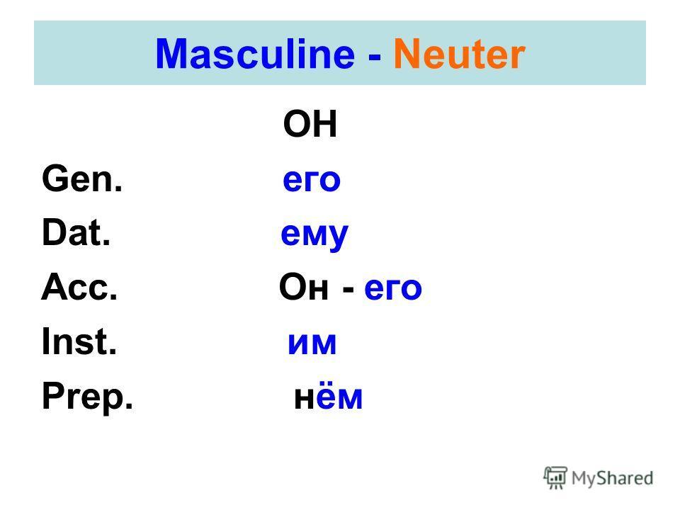 Masculine - Neuter ОН Gen. его Dat. ему Acc. Он - его Inst. им Prep. нём