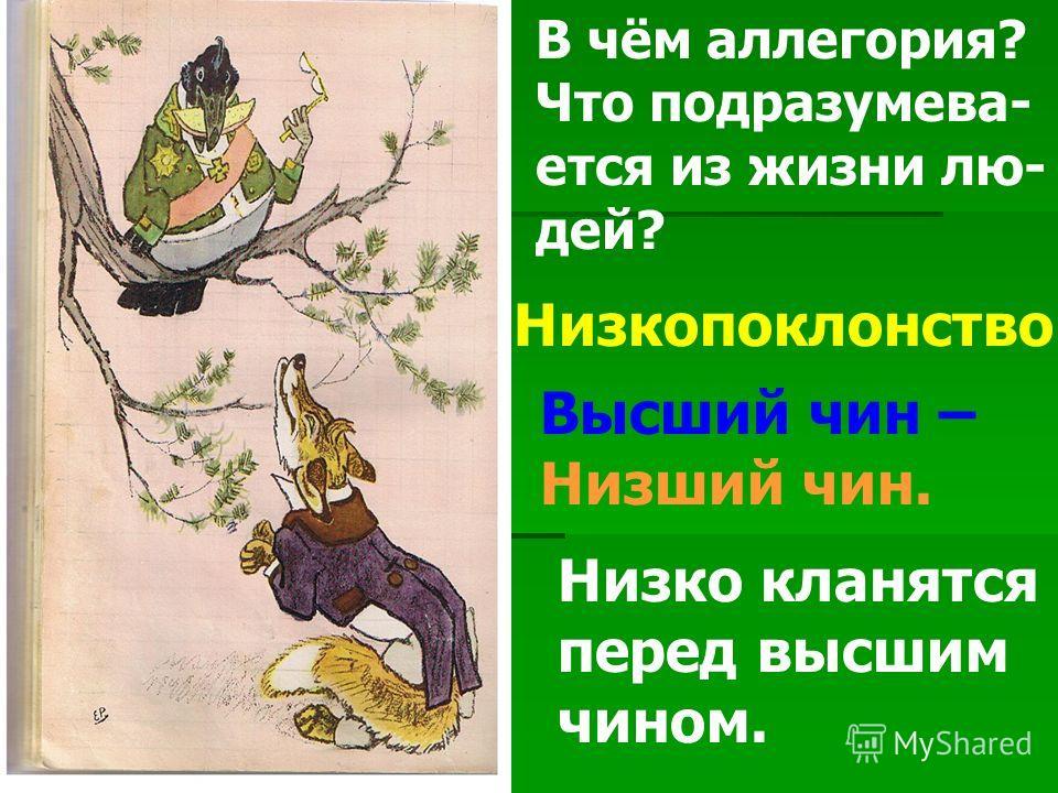 Низкопоклонство. Высший чин – Низший чин. Низко кланятся перед высшим чином. В чём аллегория? Что подразумева- ется из жизни лю- дей?