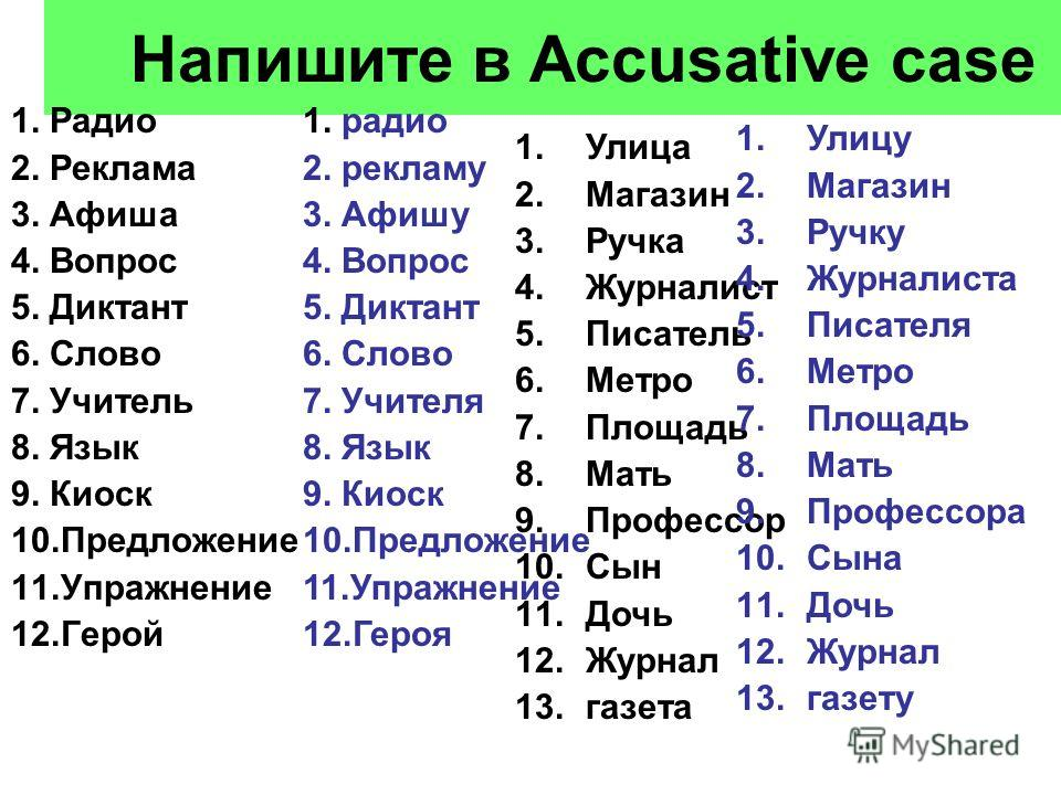 Напишите в Accusative case 1. Радио 2. Реклама 3. Афиша 4. Вопрос 5. Диктант 6. Слово 7. Учитель 8. Язык 9. Киоск 10.Предложение 11.Упражнение 12.Герой 1. радио 2. рекламу 3. Афишу 4. Вопрос 5. Диктант 6. Слово 7. Учителя 8. Язык 9. Киоск 10.Предложе