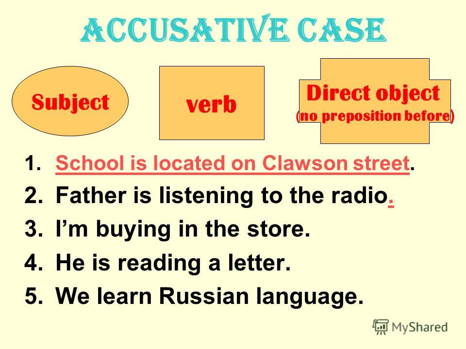 Accusative case Ученик читает текст. 1.School is located on Clawson street.School is located on Clawson street 2.Father is listening to the radio.. 3.Im buying in the store. 4.He is reading a letter. 5.We learn Russian language. Subject verb Direct o