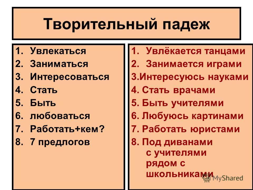 Творительный падеж 1.Увлекаться 2.Заниматься 3.Интересоваться 4.Стать 5.Быть 6.любоваться 7.Работать+кем? 8.7 предлогов 1.Увлёкается танцами 2.Занимается играми 3.Интересуюсь науками 4. Стать врачами 5. Быть учителями 6. Любуюсь картинами 7. Работать