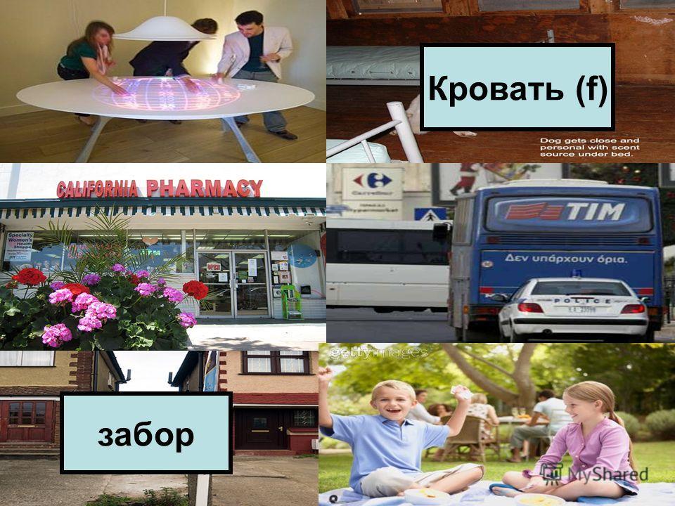 Лампа над столом. Собака под кроватью. Цветы перед аптекой. Машина за автобусом. Забор между домами. Мальчик рядом с девочкой. Кровать (f) забор