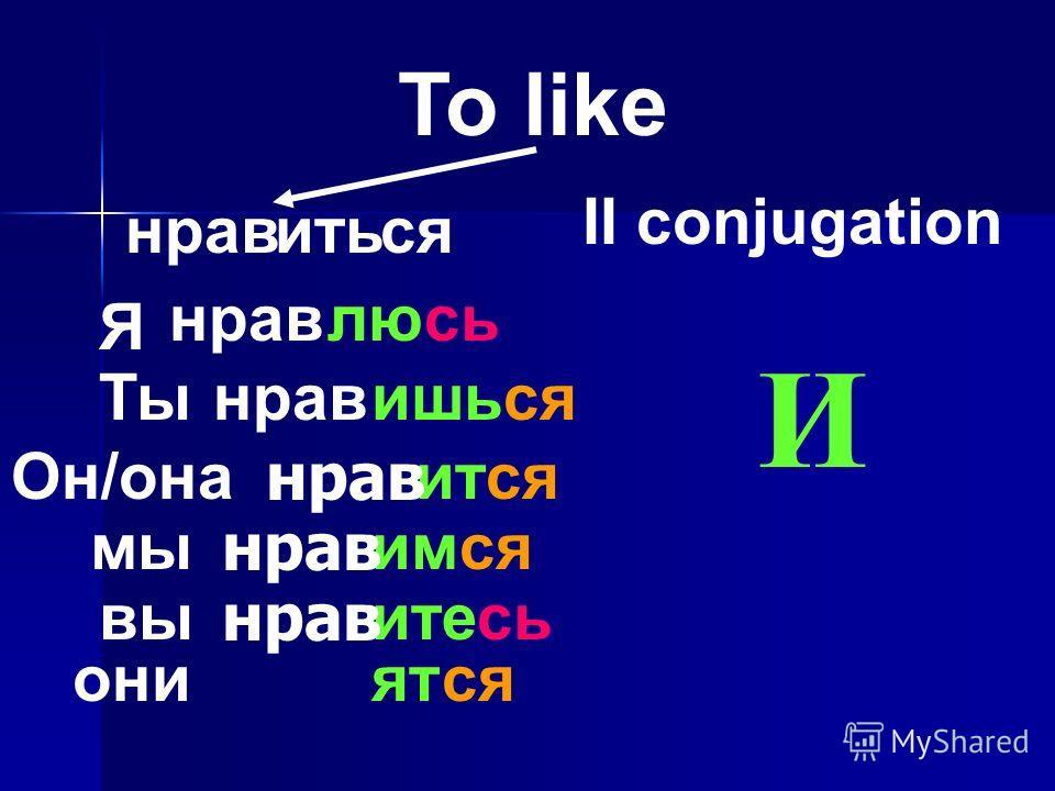 иться To like II conjugation Я нрав люсь Ты нрав ишься Он/она нрав ится мы нрав имся вы нрав итесь они нрав ятся И